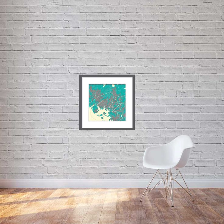 Print, canvas 60cm x 60cm - Oslo in northern lights colours