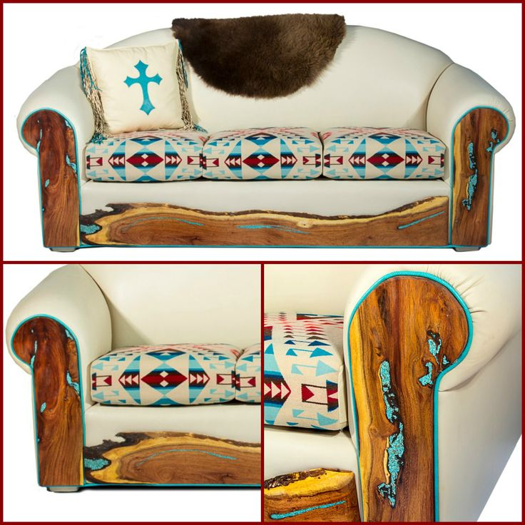 Stunning western style sofa can be made in any leather color or fabric pattern.  Turquoise inlaid wood frame gives it a wonderfully unique look.  Available through Rustic Artistry.