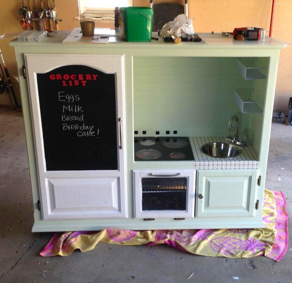 UPCYCLED from an old entertainment center!!  DIY kids' kitchen playset