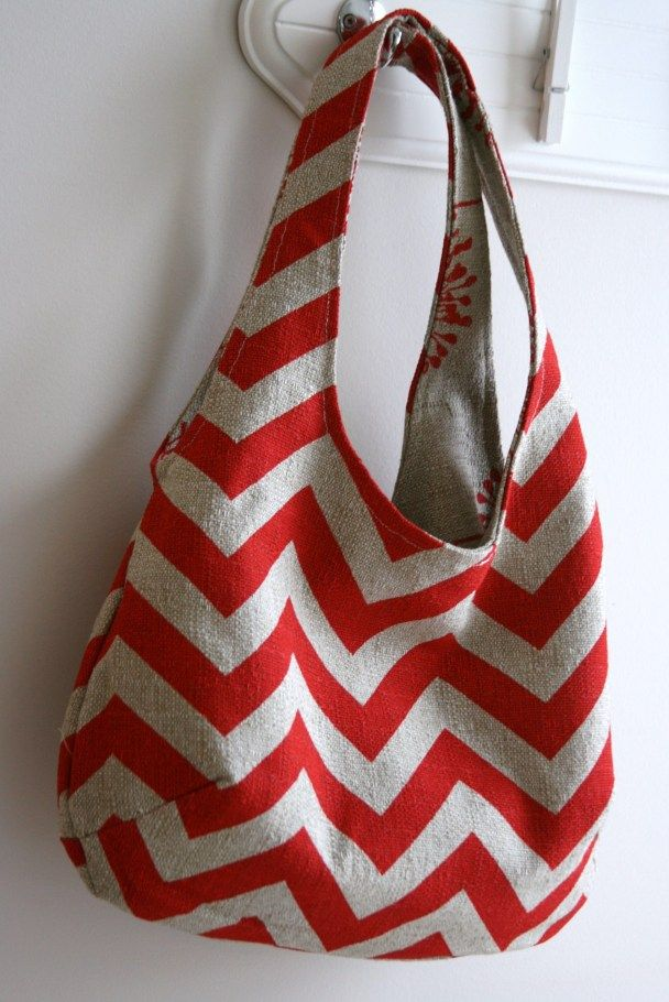 Make a reversible bag with four pieces of fabric.
