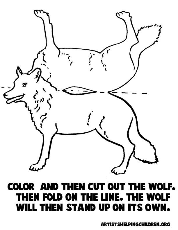 Just Print Color Cut Out The Wolf Then Fold On The Lines