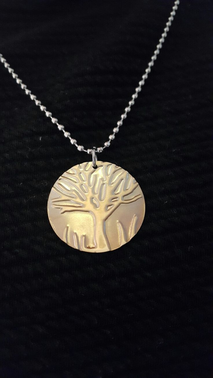 Embossed Brass Blank. Tree of Life Pendant.