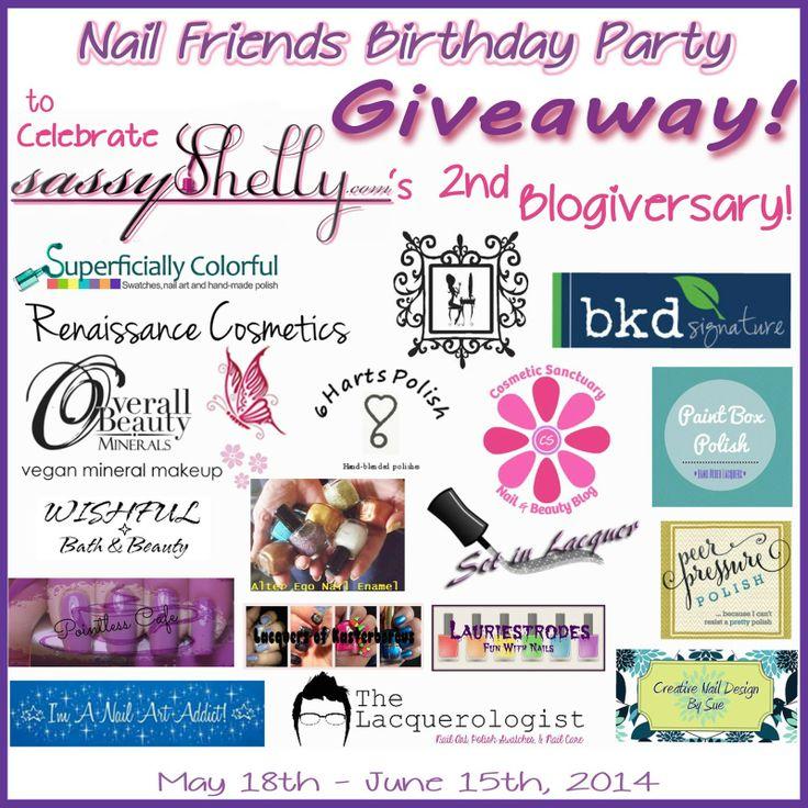 Sassy Shelly: Nails and Attitude: Nail Friends Birthday Party GIVEAWAY!! ~ to celebrate Sassy Shelly's 2 year Blogiversary!