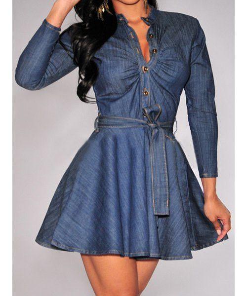 Long Sleeve Denim Women's Dress Sexy Short Denim Dress Long Sleeves Belt Included BUST WAIST Large 38.19~39.37 29.92~31.50 XL 40.94~42.91 33.07~34.65