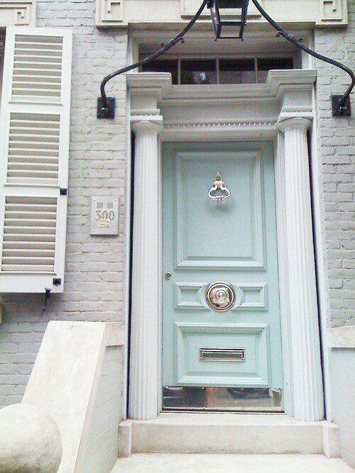 aqua front door with chrome