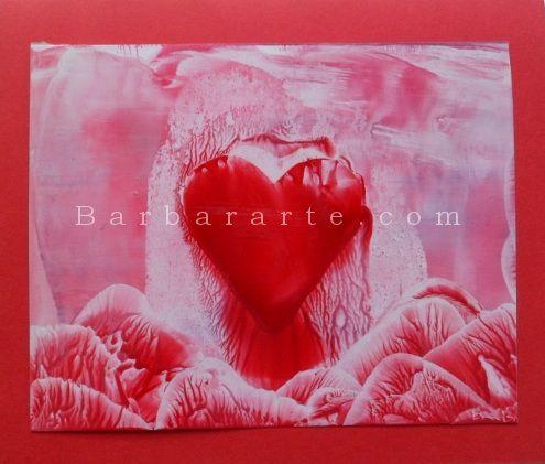 Corazón. Pintura encáustica sobre papel./ Heart. Encaustic painting on paper.