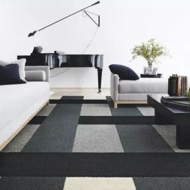 brilliant design of carpet tiles at modern living room that applied grey sofa and chaise also darkwood coffee table