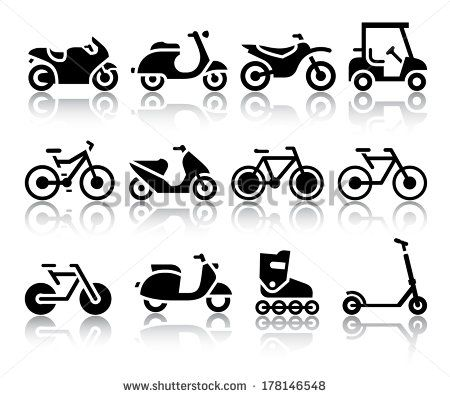 Motorcycles and bicycles set of black icons. Vector illustrations, silhouettes isolated on white background