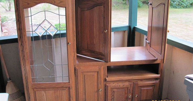 Beautiful, solid oak entertainment center that nobody had a need for; recycling these pieces into usable, everyday items.