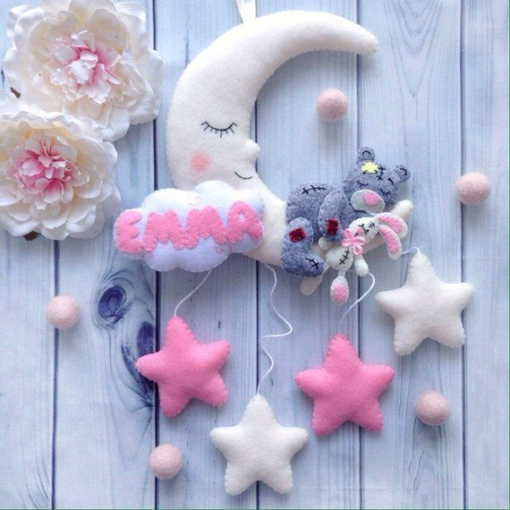 Name Teddy Bear Mobile Custom Felt Moon Stars Personalized Etsy Christening Gifts For Girls Baby Wall Decor Stars And Moon