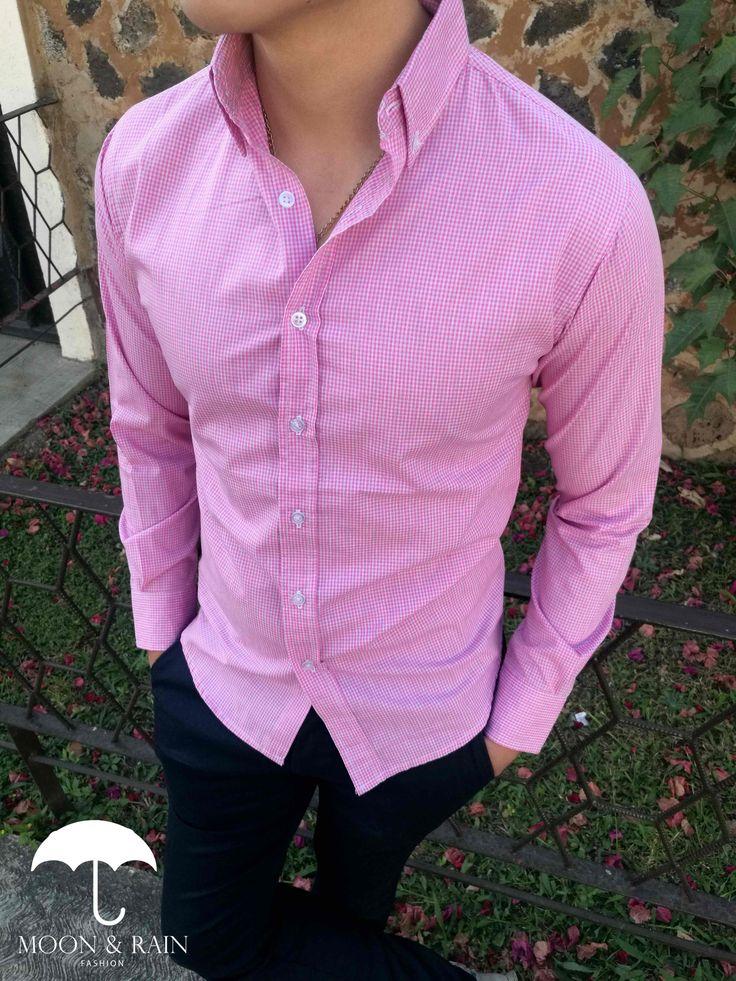 Camisas Slim Fit mini cuadro rosa y pantalón de gabardina para caballero   Tiendas Platino High Fashion Men, Mens Fashion, Moda Casual, What To Wear, Dress Up, Menswear, Spring Summer, Suits, Outfit
