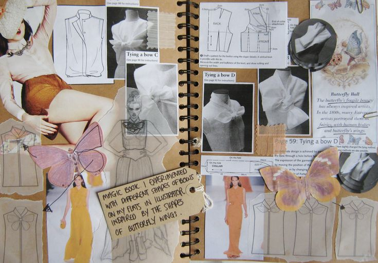 Fashion Sketchbook - fashion design drawings; butterfly wings, fashion research ideas & development // Samantha Beth Rounding