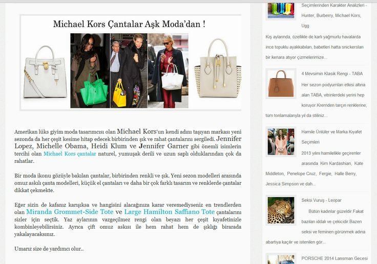 Amerikan lüks giyim moda tasarımcısı olan Michael Kors'un kendi adını taşıyan markası yeni sezonda da her çeşit kesime hitap edecek birbirinden şık ve rahat çantalarını sergiledi. Jennifer Lopez, Michelle Obama, Heidi Klum ve Jennifer Garner gibi önemli isimlerin tercihi olan Michael Kors çantalar naturel, yumuşak derili ve uzun saplı olduklarından çok da rahatlar.  #michaelkors #michaelkorscanta