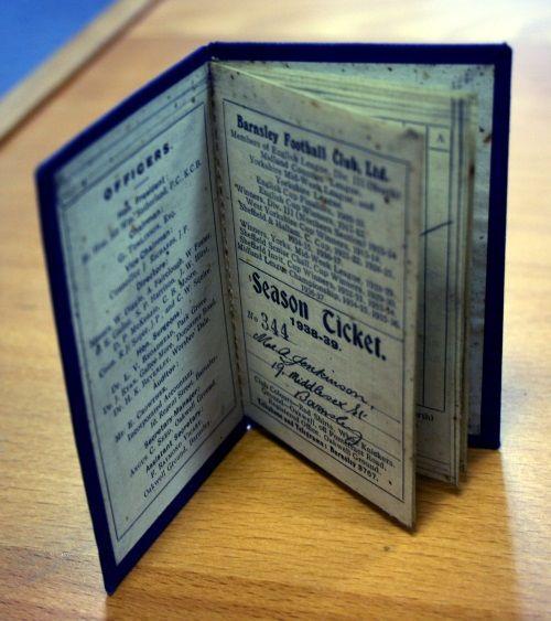 Very rare Barnsley FC 1938/9 season ticket
