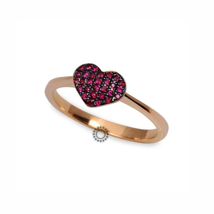 Μοντέρνο δαχτυλίδι καρδιά από ροζ χρυσό Κ18 με κόκκινα ρουμπίνια | Δαχτυλίδια με ορυκτές πέτρες ΤΣΑΛΔΑΡΗΣ στο Χαλάνδρι #καρδιά #ρουμπίνια #δαχτυλίδι #rings