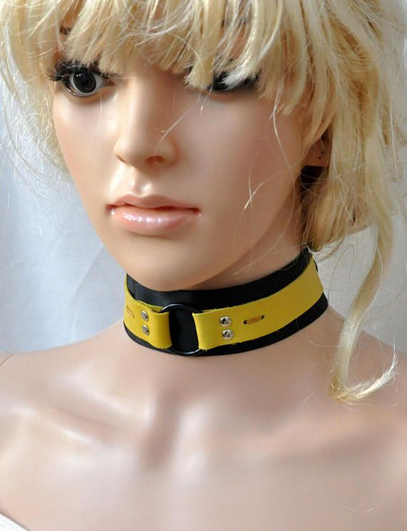 Black and yellow O ring collar Leather bondage collar  #gothiclolita #victorianchoker blackpassionuk
