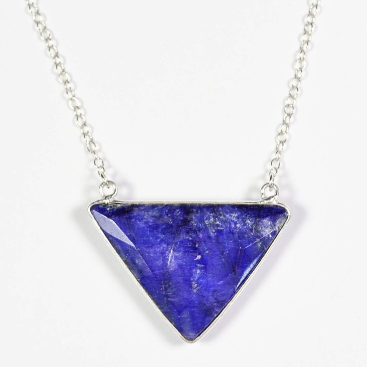 Sapphire Necklace, Blue Triangle Necklace, Gift For Her, Sterling Silver, Blue Sapphire Jewelry, Geometric Necklace, September Birthstone by Gemstonique on Etsy https://www.etsy.com/listing/260334478/sapphire-necklace-blue-triangle-necklace