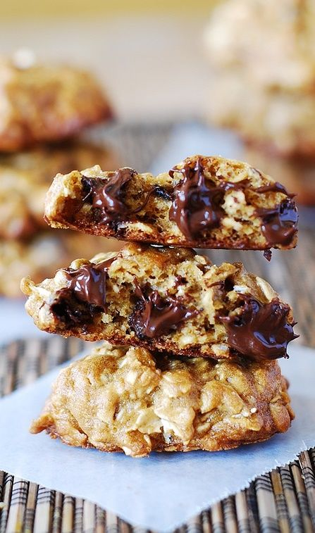 and chewy banana oatmeal cookies with chocolate chips banana chocolate ...