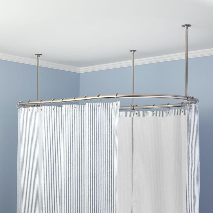 Oval Shower Curtain Rod 60 X 30 Chrome 24995 Includes Three 5 8 OD 36 Ceiling Supports May Be Cut To Desired Length