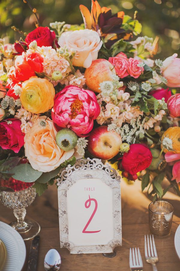 Table number - Apple Orchard Wedding Inspiration by Sarah Park Events + Nessa K Photography - via ruffled