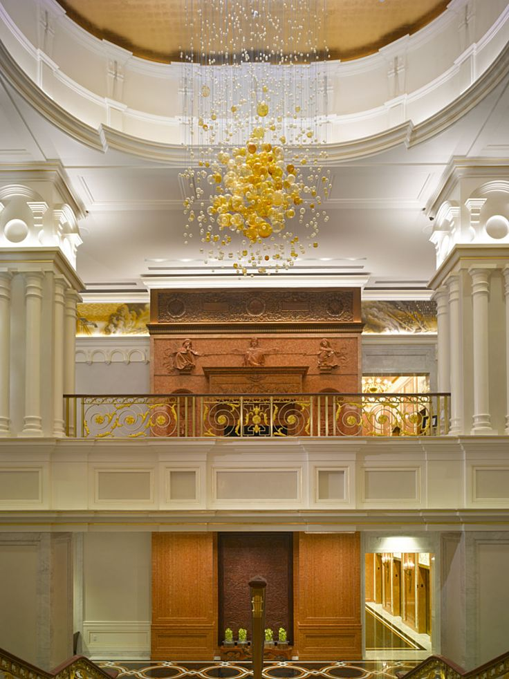The New York Palace Hotel   Lasvit. Glass InstallationPalace HotelClassic  ArchitectureEuropean StyleHospitalityBespokePalacesChandelierCeiling