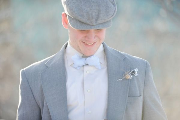Winter Wedding Groom + Ice Blue Bow Tie