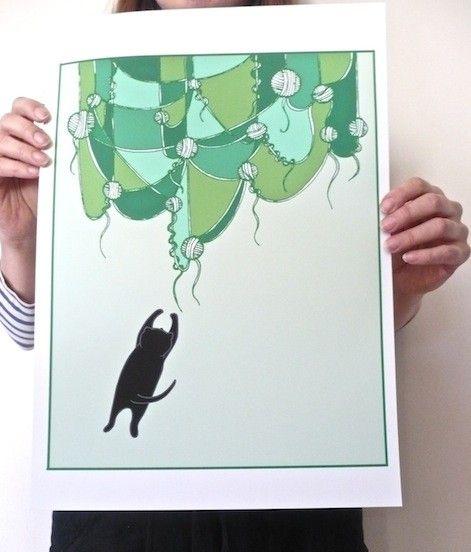 I Dream Of Yarn Curtains, a poster by Carolina Grönholm #nordicdesigncollective #katt #katten #cat #thecat #cuttingboard #animal #meow #kitten #pet #fur #cosy #carolinagronholm #poster #print #yarn #curtain #curtains #dream #dreams #catdream #green #jumo #jumpingcat