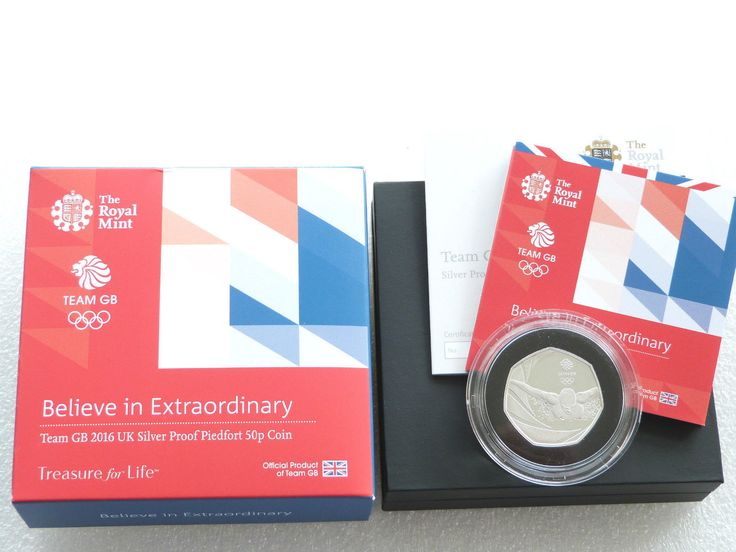 2016 Olympic Games Team GB Rio Piedfort 50p Fifty Pence Silver Proof Coin Box Coa