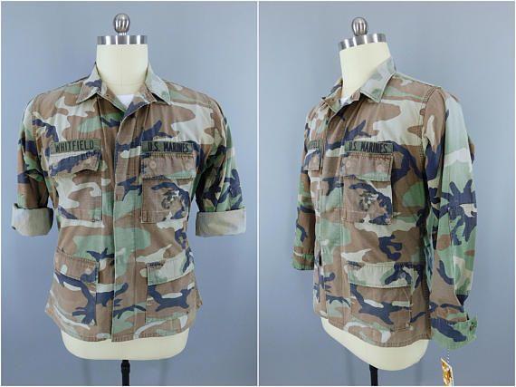Vintage 1990s Camouflage Shirt / USMC Camo Jacket / Marine Corps Fatigues / Woodland Pattern / USMC Camo Blouse / Salty Marine Corps Camo #VintageArmyShirt #ArmyGreen #CamoShirt #MilitaryShirt #VintageMilitary