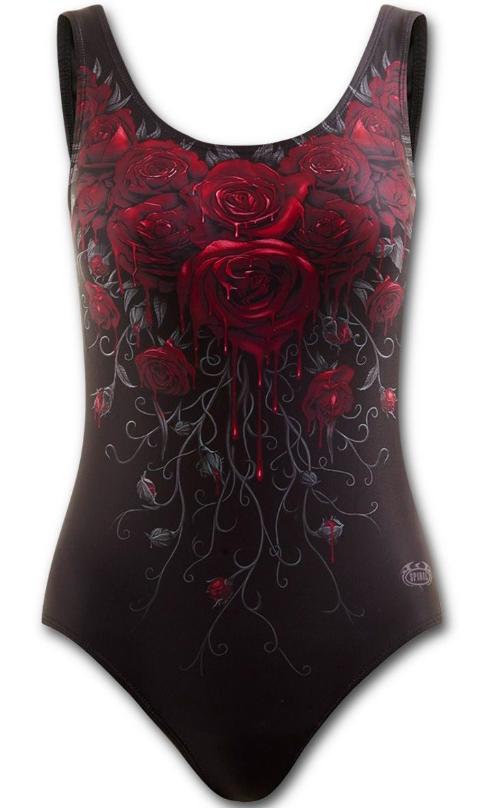 Bañador Gotico Blood Rose de Spiral #gothic #bañador #gotico #xtremonline #swimsuit #gothic #roses #blood