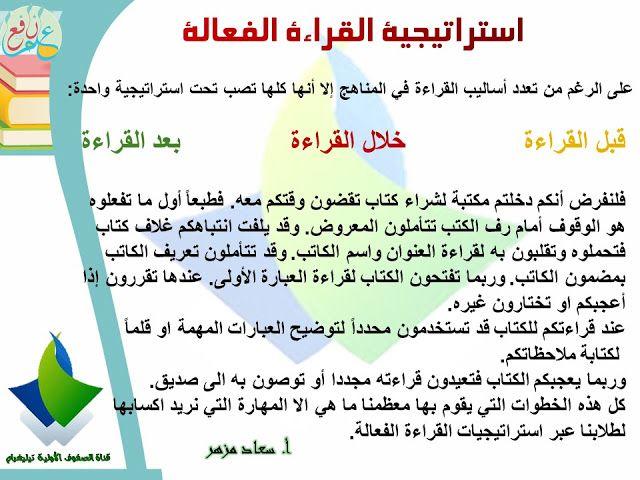 استراتيجية القراءة الفعالة واستراتيجة Sq3r ضمن استراتيجيات التعلم النشط Effective Reading Method Active Learning Strategies Learning Arabic Learning Strategies