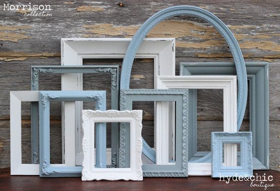 Shabby Chic Decor / Upcycled Distressed Picture Frame Set / Nursery Decor / Gallery Wall Frame Set /  Custom Order / Morrison Collection on Etsy, $52.00