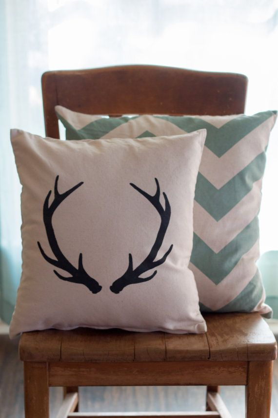 Deer Antler Pillow Case Rustic Pillow Farmhouse by YellowRoseSigns