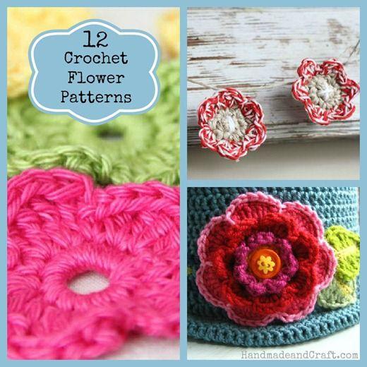 12 Crochet Flower Patterns...great for beginners!
