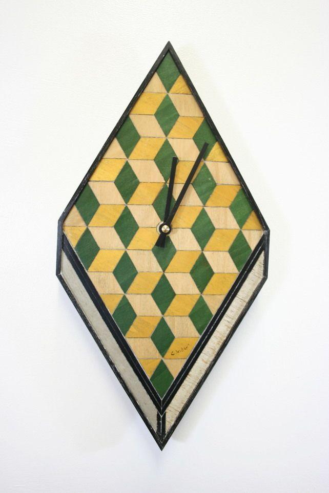 Handmade wall clock yellow green cream £50.00