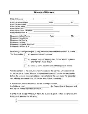 This free, printable form serves as a decree of divorce, to be used by a judge or mediator to determine petitioner and respondent information and to decide the awards and charges each spouse receives in the dissolution of their marriage. Free to download and print