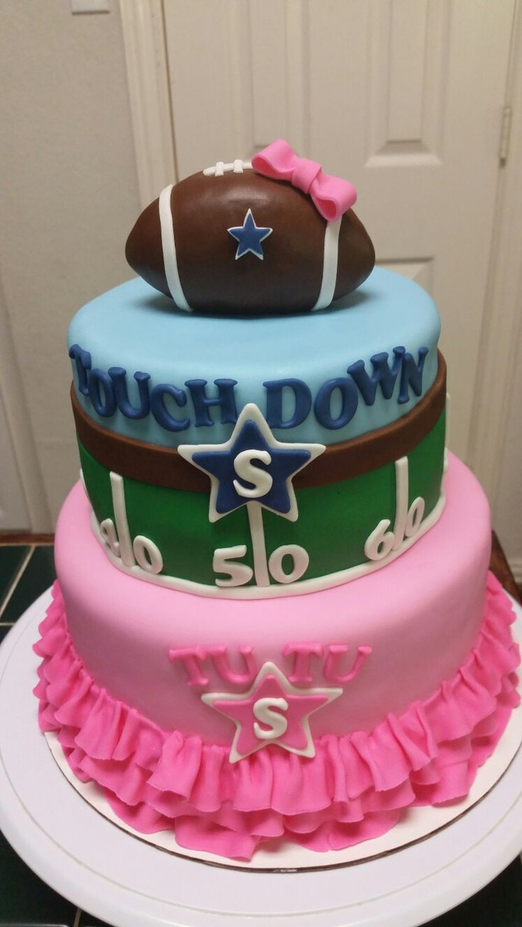 Gender Reveal Football and Tutu Cake                                                                                                                                                                                 More