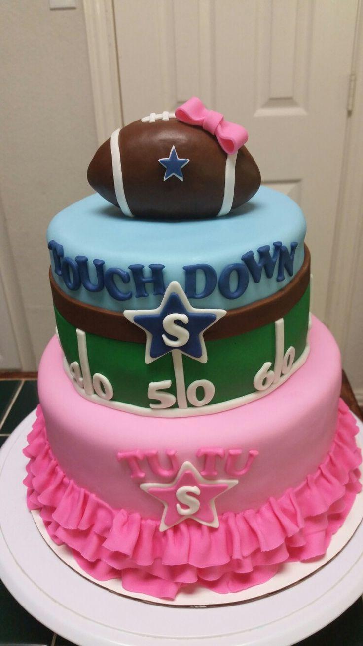 Gender Reveal Football and Tutu Cake                                                                                                                                                                                 More
