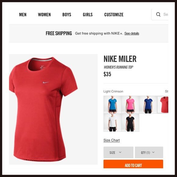 Nike Miler Women's Running Top⚡️⚡️ Final Price Nike women's running top. Stay cool technology in top. Top has ports for management of ear phones. Orange-ish red color. Matching shorts also being sold. Willing to bundle at discount. Nike Tops Tees - Short Sleeve