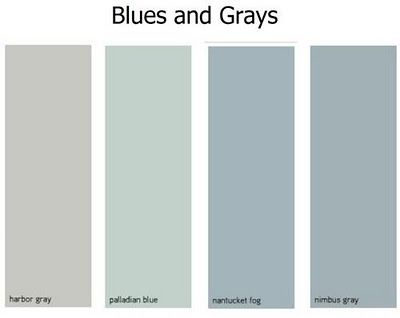 Benjamin Moore - Harbor Gray, Palladian Bllue, Nantucket Fog, Nimbus Gray (Nantucket Fog for kitchen?)