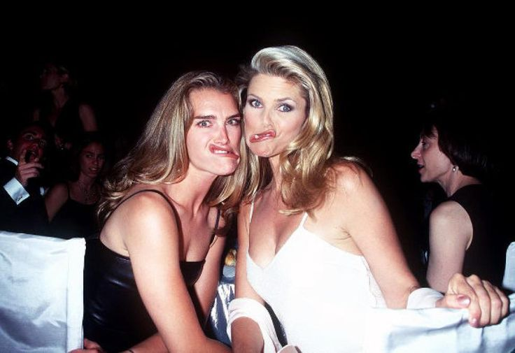 The supermodel mugging for the camera with fellow covergirl Brooke Shields. Brinkley married young, first to artist Jean-Francois Allaux, from 1973 to 1981 ...