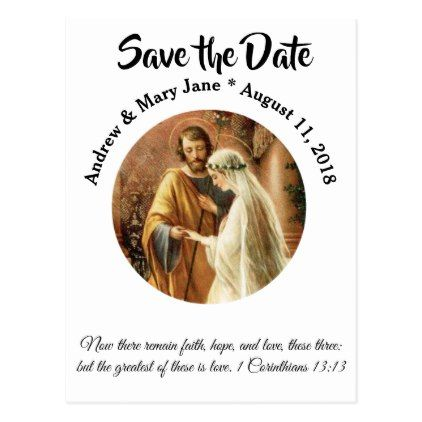 Traditional Catholic SAVE THE DATE Wedding Postcard - postcard post card postcards unique diy cyo customize personalize