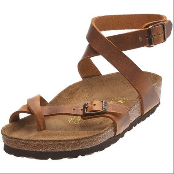 Birkenstock Yara Sandals sz 38 (7, 7.5) new in box New in box Birkenstock Yara Sandals in Antique Brown Leather. The color is a natural light brown. Size 38 (women's 7 or 7 1/2 -- Birkenstock size charts recommend adding 31 to US shoe size) Birkenstock Shoes Sandals