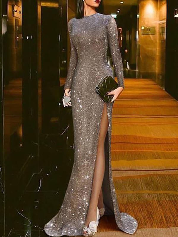 Elegant Silver Split Sexy Round Neck Evening Dress