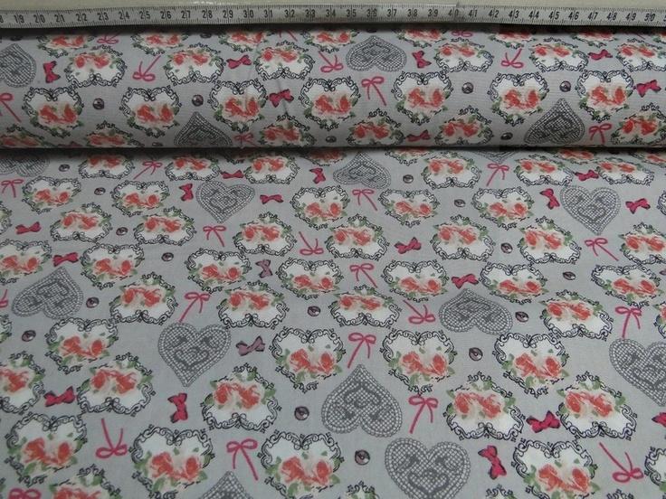 Dapper V1052 grijs hartjes, rozen, ornament koraal offwhite :: Bas Bastiaans (dianne)