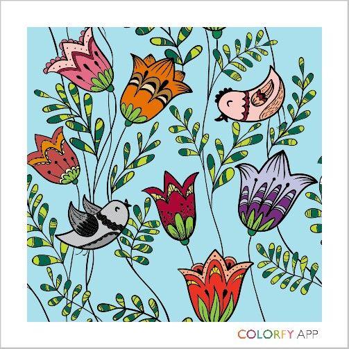 #bird #flower #colour #colouring #colouringapp