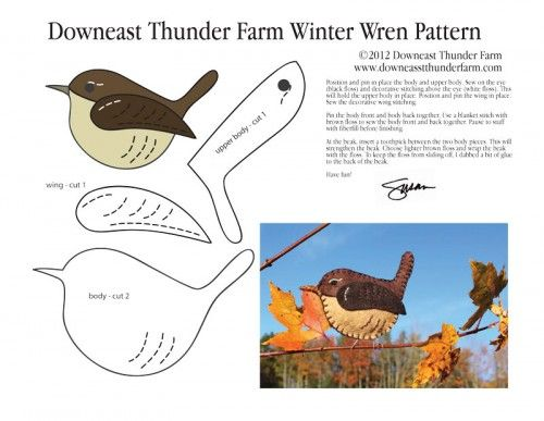 winter-wren-pattern from Downeast Thunder Farm. Susan makes the most adorable (free) felt bird patterns. Visit her lovely blog and tell her I say hello. <3