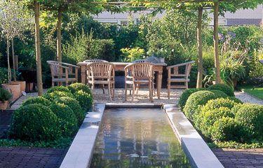 Moderne tuin: strakke lijnen doorkruisen het weelderige groen