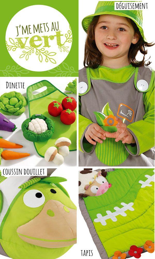 """Page tendance Wesco Family """"Je me mets au vert !"""" : pouf, tapis, puzzle animaux, brouette, animal douillet Bernard le canard"""