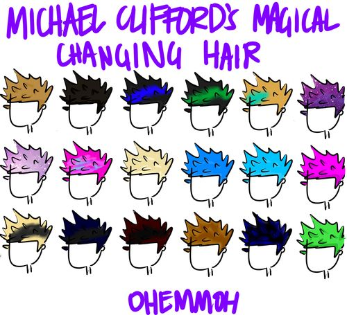 Michael Clifford's hair (and now it's red...tbh I think this is the longest he's gone without dying it a different color)